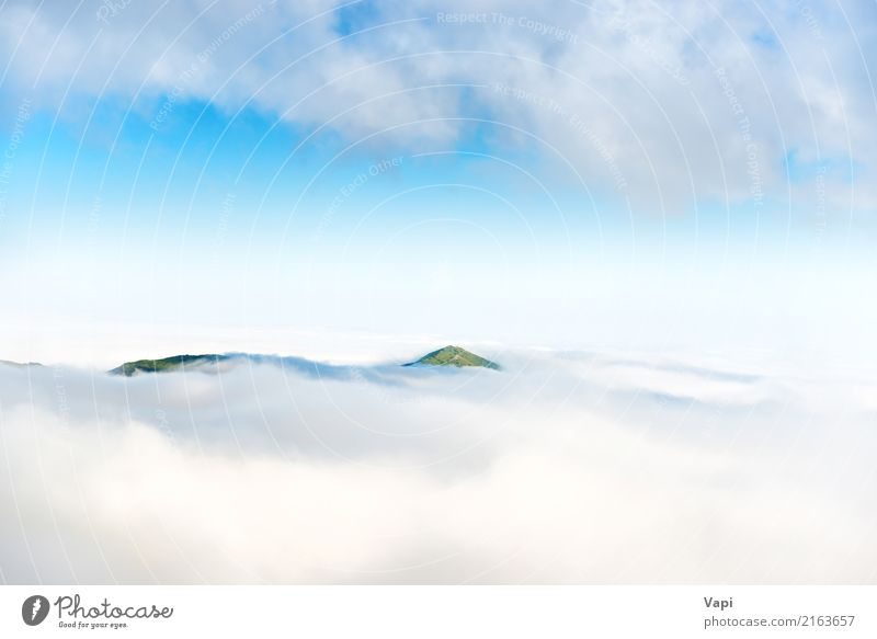 Green mountain peak in the clouds Vacation & Travel Trip Summer Ocean Island Mountain Nature Landscape Sky Clouds Horizon Fog Hill Peak Volcano Aircraft Above