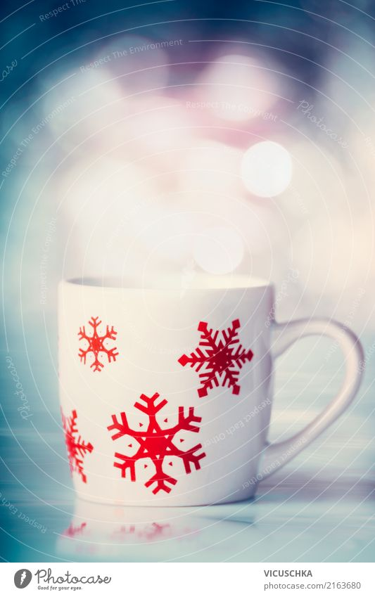 Winter cup with snowflakes Beverage Hot drink Hot Chocolate Coffee Tea Cup Style Design Christmas & Advent Retro Snowflake Blur Mulled wine Colour photo