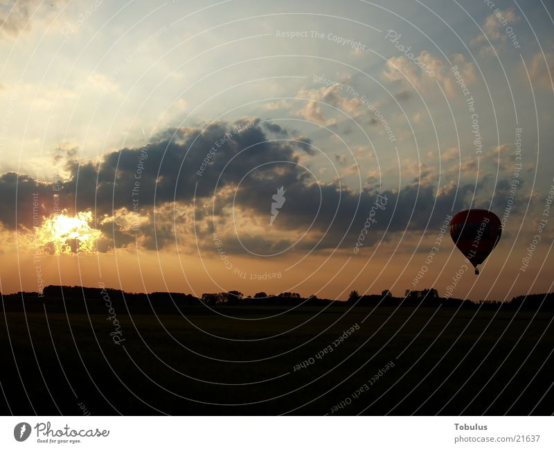 Balloon in the evening glow Aviation Evening afterglows Sky Sun Hot Air Balloon