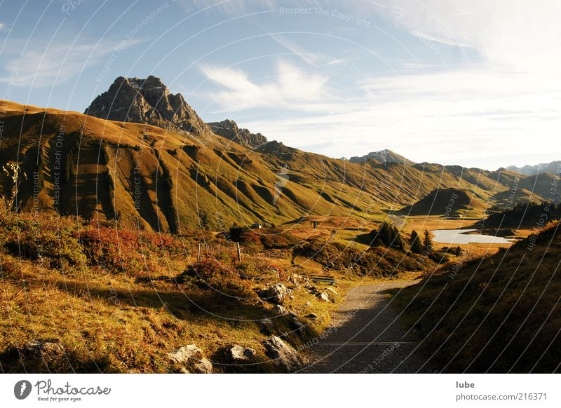 Nature Autumn Mountain Lanes & trails Landscape Weather Environment Rock Tourism Travel photography Alps Hill Peak Beautiful weather Mountain lake Forest of Bregenz
