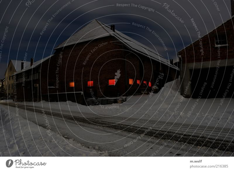 Night out Night sky Winter Ice Frost Snow Village Deserted Manmade structures Barn Farm Cowshed Blue Red White Moody Street Snow track Window Flare Colour photo