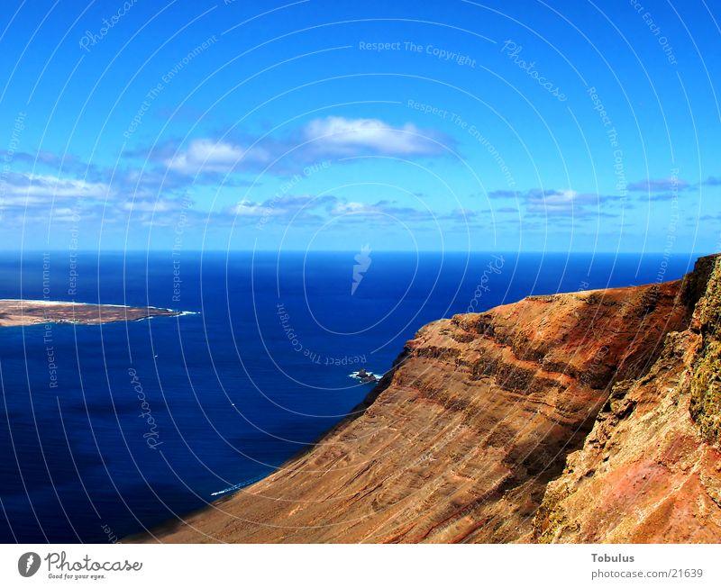 Rocky coast on Lanzarote Coast Ocean Blue Water Sand