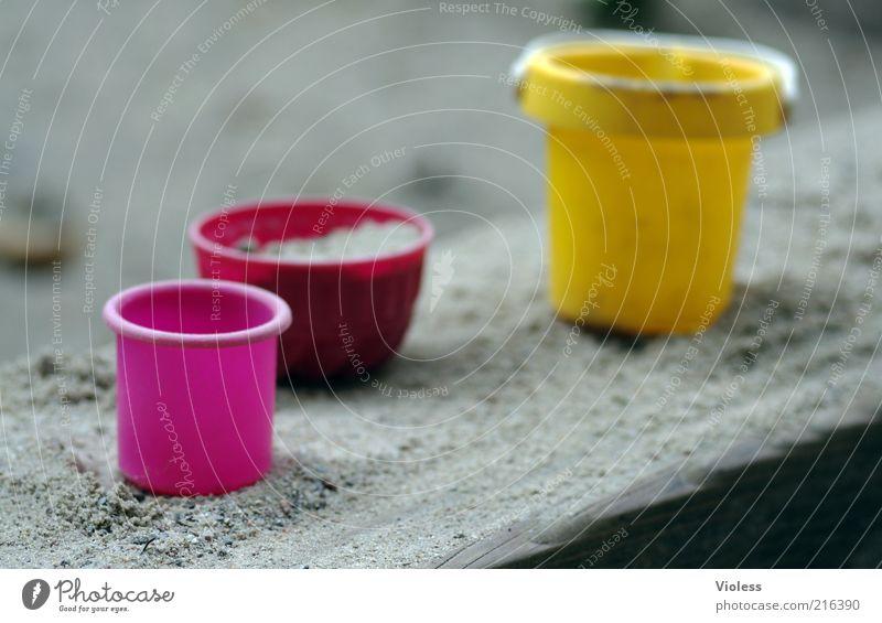 [HH 10.1] Bake bake cake....... Bowl Sand Natural Yellow Pink Joy Colour Sandpit Colour photo Blur Bucket Plastic Sand toys Deserted Violet Playing sandpit edge
