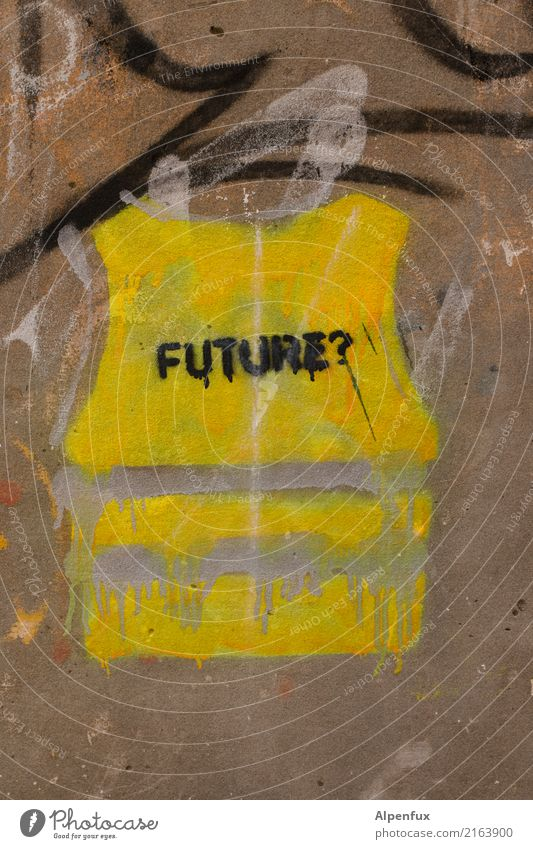 Music of the future | Future Art Work of art Wall (barrier) Wall (building) Characters Graffiti Yellow Fear Fear of the future Poverty Education Business End