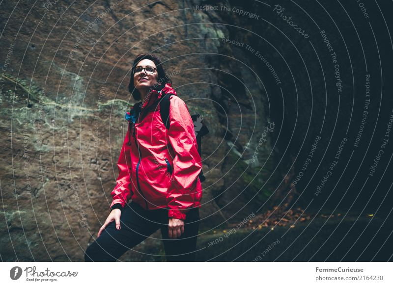 Hiking (04) Feminine Young woman Youth (Young adults) Woman Adults 1 Human being 18 - 30 years 30 - 45 years Adventure Saxon Switzerland Rain jacket Red