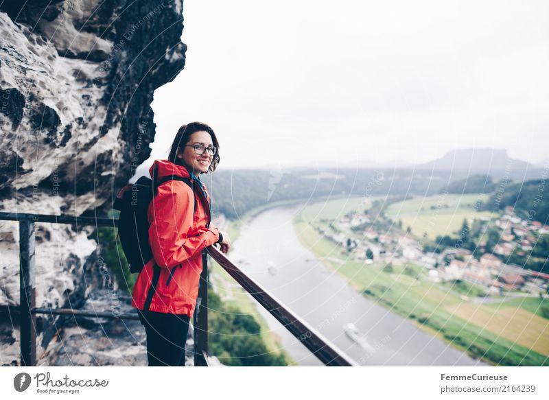 Human being Woman Youth (Young adults) Young woman Red 18 - 30 years Adults Feminine Hiking Vantage point Adventure Rain jacket 30 - 45 years Saxon Switzerland