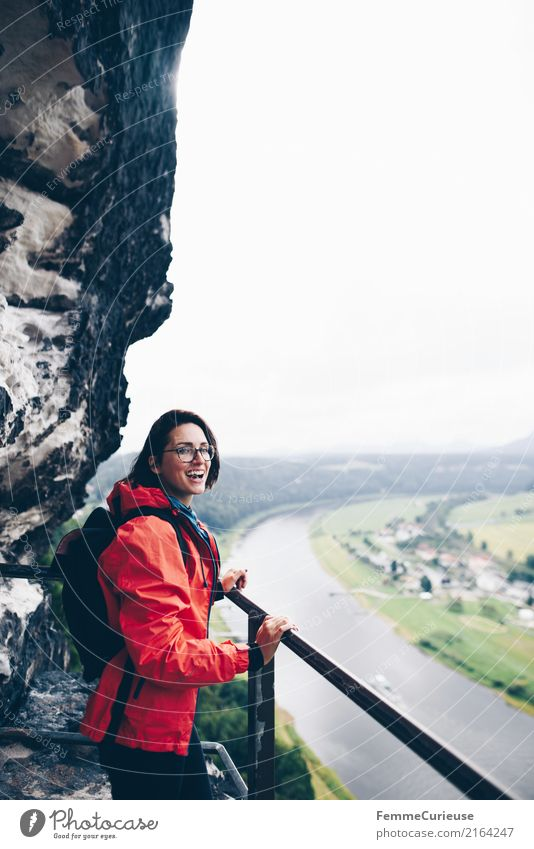 Hiking (05) Feminine Young woman Youth (Young adults) Woman Adults 1 Human being 18 - 30 years 30 - 45 years Adventure Saxon Switzerland Rain jacket Red