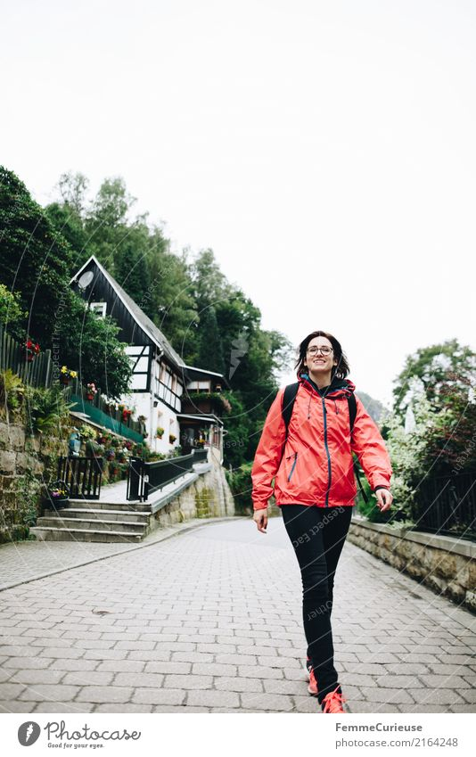Hiking (11) Feminine Young woman Youth (Young adults) Woman Adults Human being 18 - 30 years 30 - 45 years Nature Rain jacket Backpack Saxon Switzerland Idyll