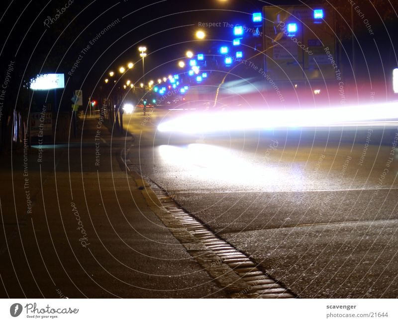 night rescue Night Dark Light Long exposure Ambulance Stripe Rescue Emergency Blue Car Street
