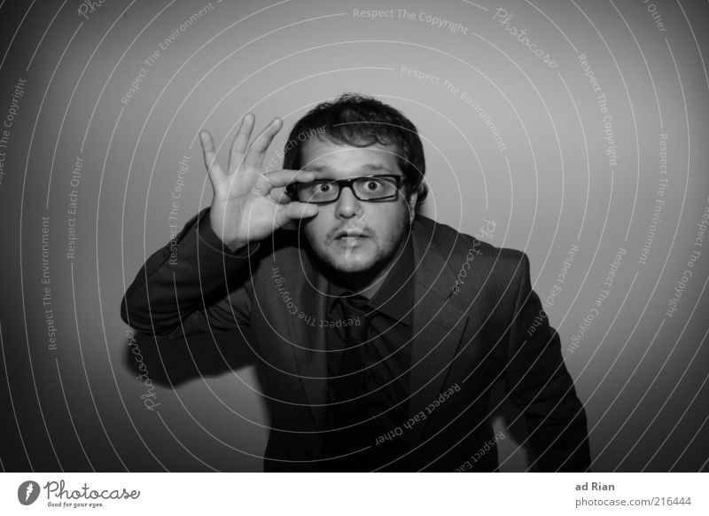 Huh? What's that? Masculine Hair and hairstyles Face Suit Eyeglasses Black & white photo Studio shot Looking Vista Exceptional Whimsical