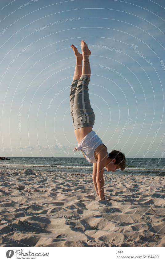 start the day Happy Healthy Harmonious Well-being Contentment Vacation & Travel Trip Adventure Freedom Summer Summer vacation Beach Ocean Yoga Young woman