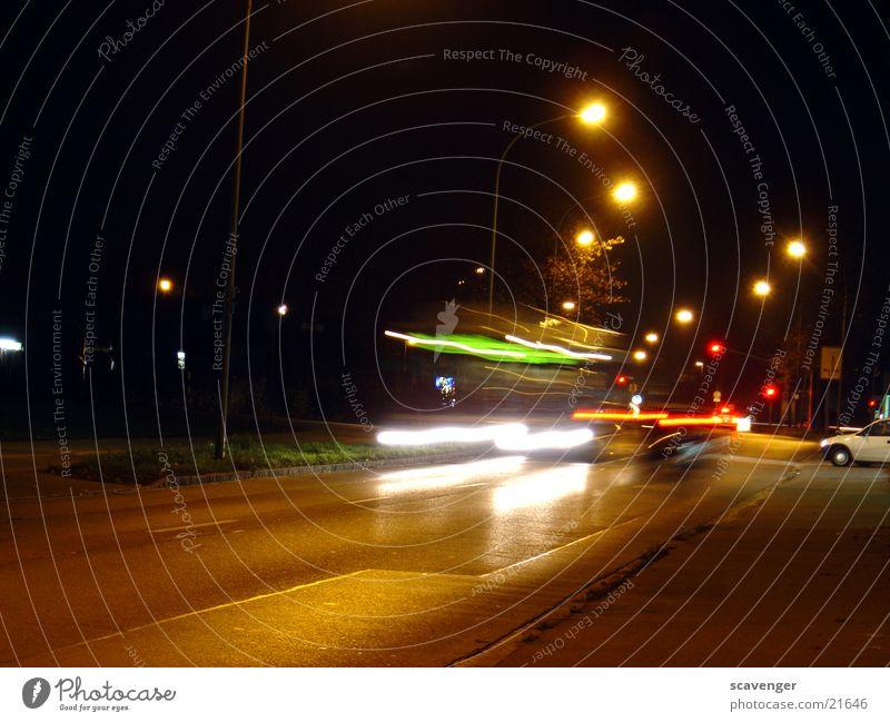 night bus Vehicle Long exposure Light Red Speed Rear light Night Twilight Transport Green White Lamp Lantern Action Car car light Movement Street Multicoloured