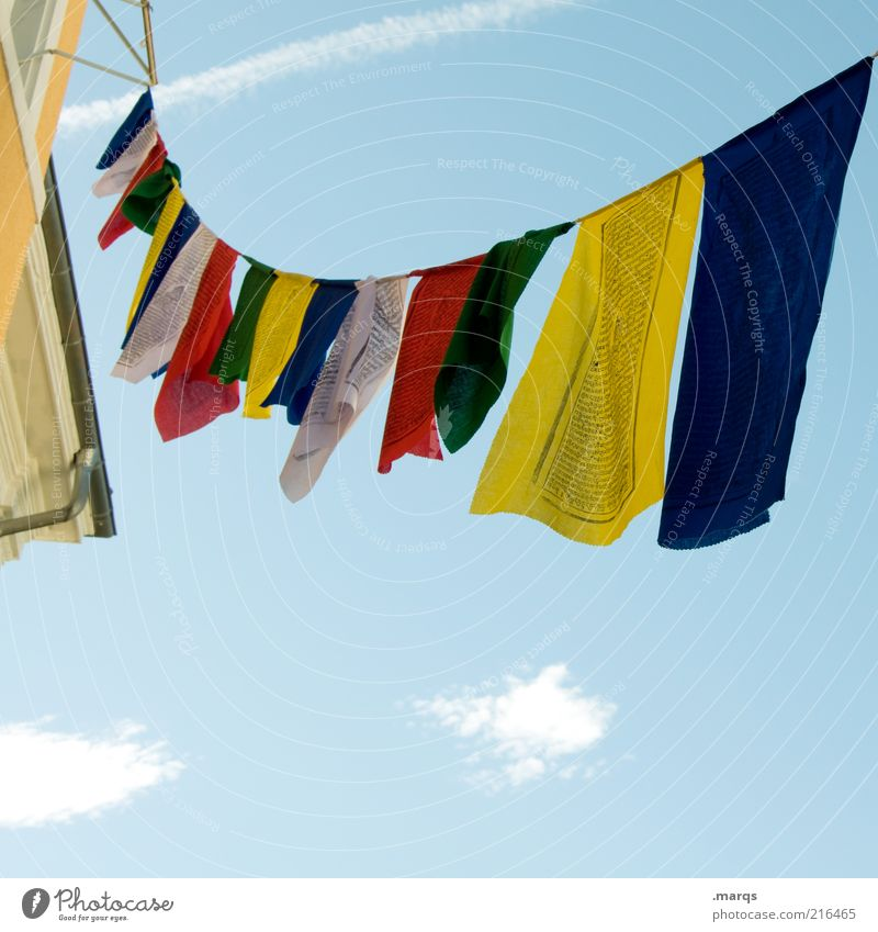 fly the flag Beautiful weather Sign Flag Hang Free Above Multicoloured Peace Prayer flags Colour photo Exterior shot Close-up Copy Space bottom Worm's-eye view