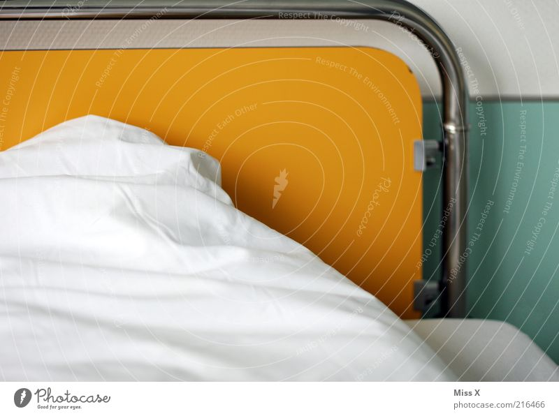 hospital bed Bed Bedroom White Cleanliness Hospital Hospital bed Duvet Blanket Colour photo Multicoloured Interior shot Deserted Health care Yellow Pillow Day