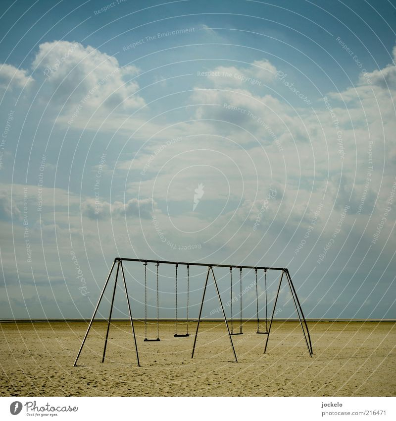 Sky Nature Old Beautiful Summer Beach Clouds Environment Sand Infancy North Sea Beautiful weather Swing Ocean Playground