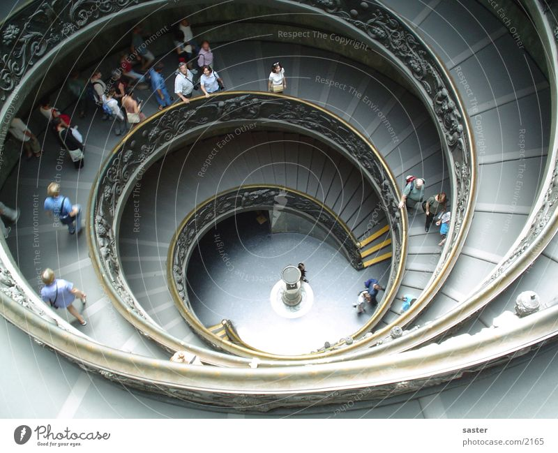 Human being Science & Research Stairs Perspective Circle Italy Middle Rotate Spiral Snail Tourist Go up Rome Europe