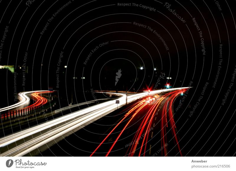 White Beautiful Red Black Street Dark Car Germany Lighting Transport Esthetic Speed Highway Traffic infrastructure Curve Motoring