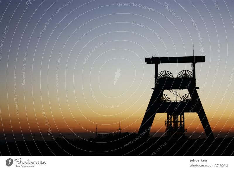 Layer at shaft I Tourism Sightseeing Mine Mining Retirement Closing time Industry Industrial heritage Sky Cloudless sky Sunrise Sunset Beautiful weather