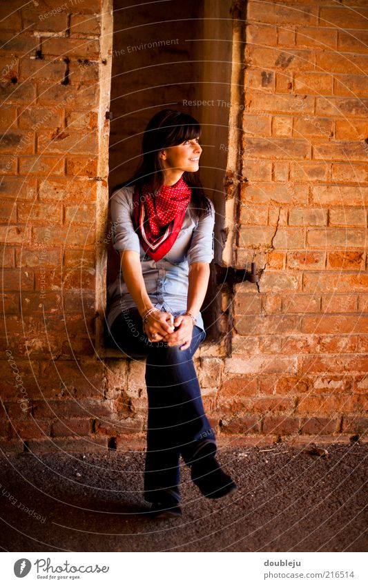 Woman Old Relaxation Feminine Wall (building) Window Wall (barrier) Building Contentment Sit Jeans Lady Brick Brunette Idea Smiling