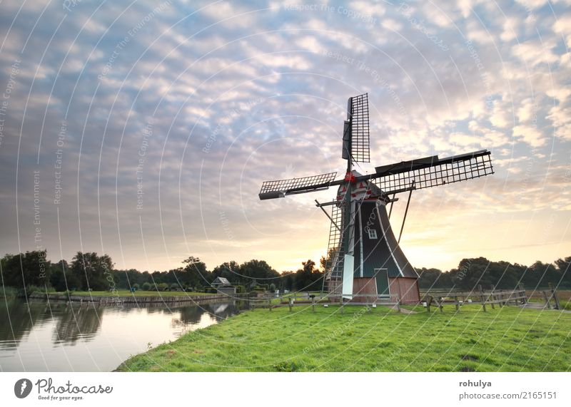 beautiful sunrise and Dutch windmill by lake Vacation & Travel Culture Nature Landscape Sun Sunrise Sunset Summer Beautiful weather Fog Meadow Pond Lake River