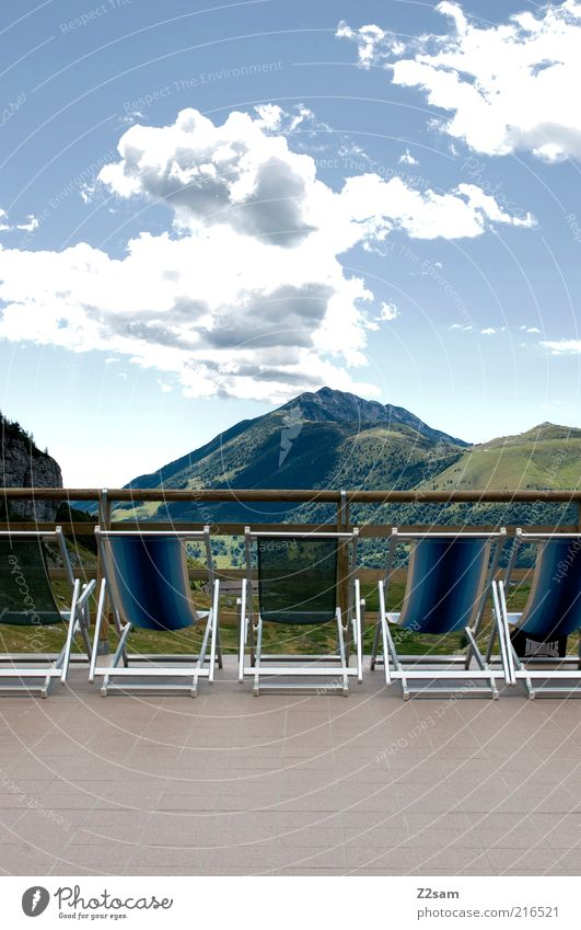 Sun deck without sun Wellness Relaxation Calm Far-off places Mountain Deckchair Environment Nature Landscape Alps Peak Esthetic Dark Gigantic Infinity Natural