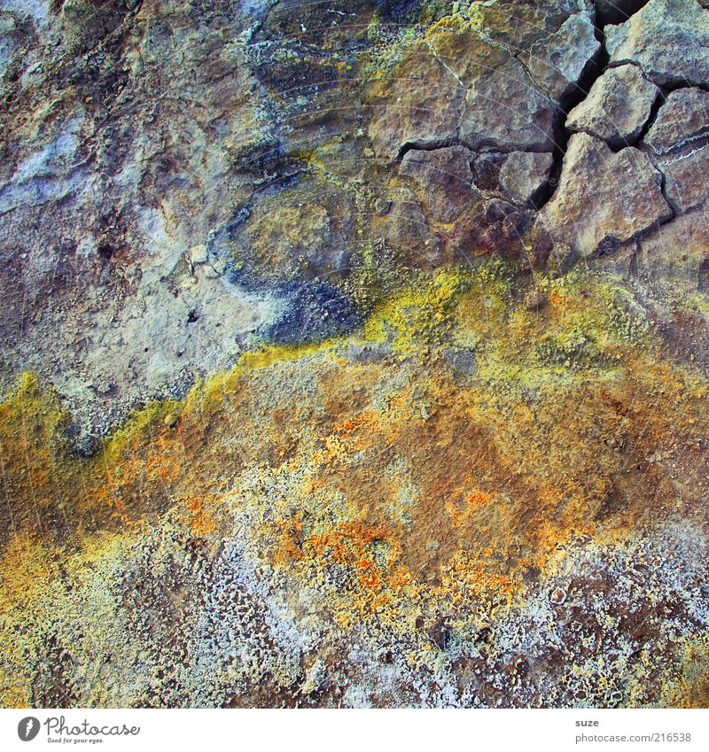 Colourful mixture Environment Elements Earth Old Exceptional Beautiful Dry Sulphur Ground Crack & Rip & Tear Iceland Nature Stone Natural stone Colour photo