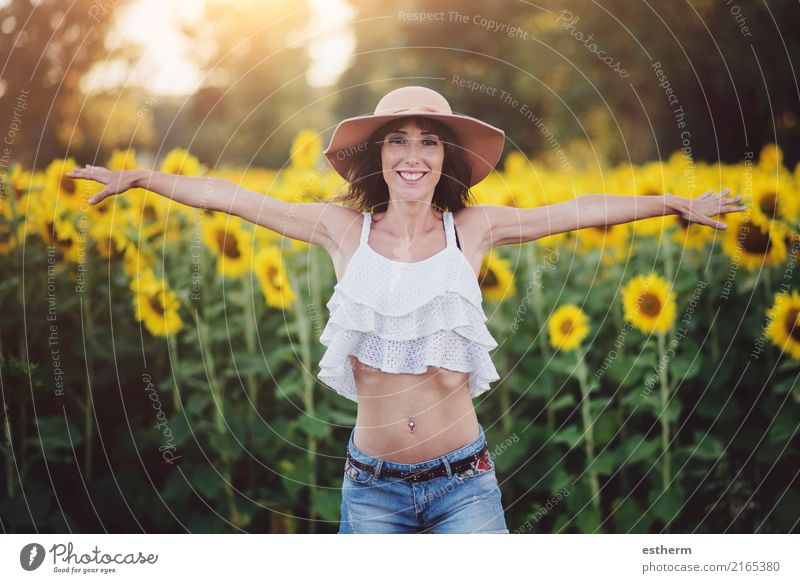 Smiling girl in field of sunflowers Human being Woman Vacation & Travel Youth (Young adults) Plant Young woman Summer Joy Adults Life Lifestyle Healthy Emotions