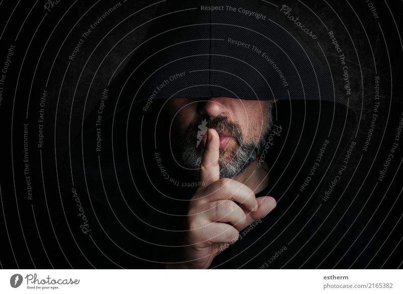 Mysterious man at halloween Lifestyle Hallowe'en Human being Young man Youth (Young adults) Man Adults Hand Fingers 1 45 - 60 years Beard Think Wait Aggression