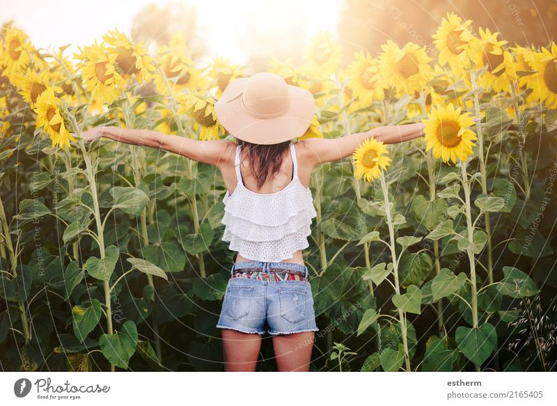 Girl in field of sunflowers Human being Young woman Youth (Young adults) Woman Adults 1 30 - 45 years Nature Plant Garden Field Fitness Vacation & Travel Dream
