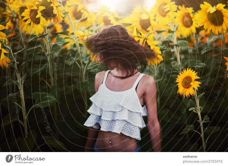 Girl in field of sunflowers Human being Woman Nature Vacation & Travel Youth (Young adults) Plant Young woman Beautiful Joy Adults Lifestyle Healthy Emotions