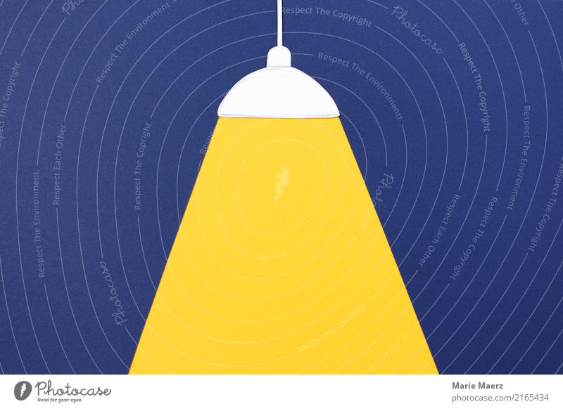 Lights on. Ceiling lamp with light cone Lamp Observe Illuminate Simple Bright Blue Yellow Truth Energy Innovative Living or residing Focus on Cone of light