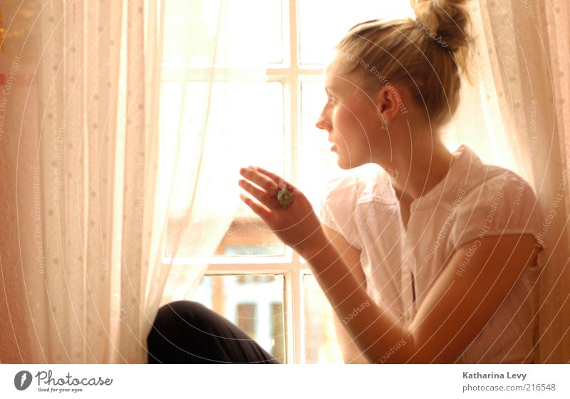 Human being Hand Youth (Young adults) Loneliness Yellow Life Relaxation Window Dream Sadness Think Wait Fashion Blonde Adults Gold