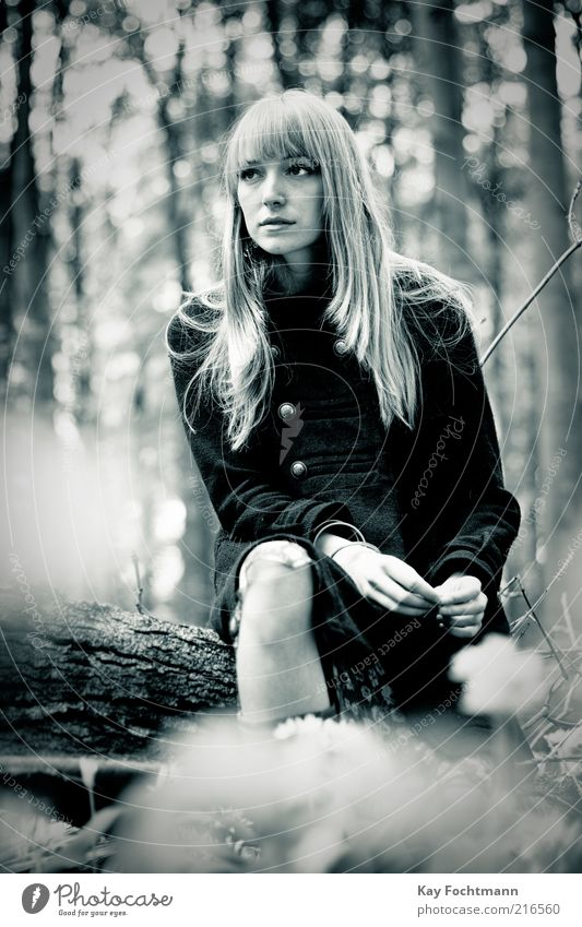 Human being Youth (Young adults) Beautiful Tree Summer Loneliness Forest Adults Feminine Sadness Style Think Blonde Sit Esthetic Young woman