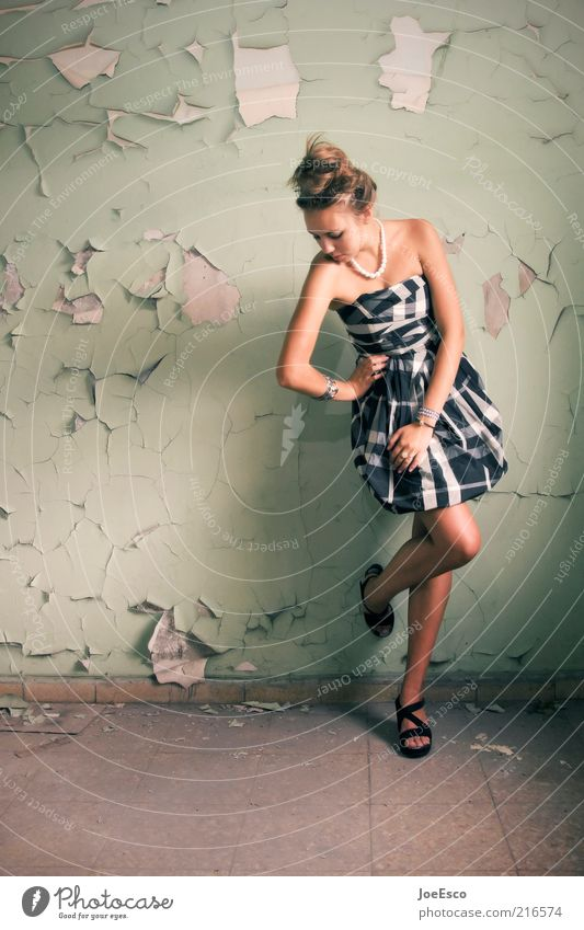 #216574 Lifestyle Elegant Style Young woman Youth (Young adults) Woman Adults Human being Ruin Wall (barrier) Wall (building) Fashion Dress Accessory High heels