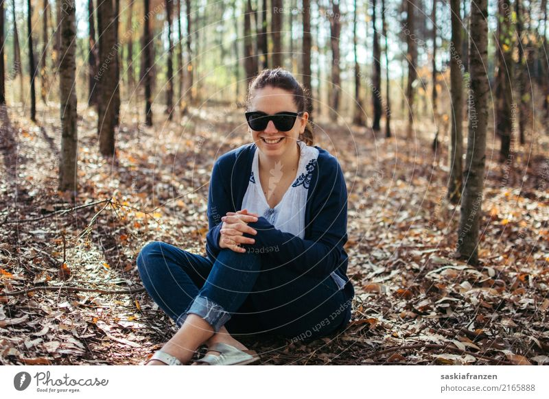 Autumn Forest III. Human being Feminine Young woman Youth (Young adults) Woman Adults Sister Body 1 18 - 30 years Nature Jeans Accessory Sunglasses Happy