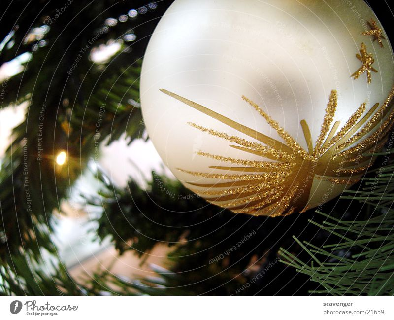 Christmas & Advent Green Tree Plant Feasts & Celebrations Gold Things Pattern Sphere Fir tree Silver Glitter Ball Fairy lights Light (Natural Phenomenon)