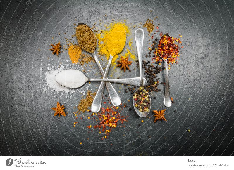 Colourful spices Herbs and spices Spicy Tangy Food Chili Kitchen Cooking Ingredients Sense of taste Aromatic Red Yellow Delicious Healthy Eating To enjoy Spoon