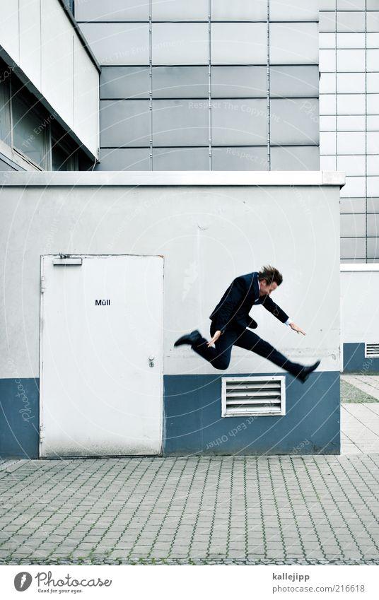 Human being Wall (building) Jump Wall (barrier) Business Door Facade Masculine Running Speed Suit Businesspeople Stress Dynamics Snapshot Escape