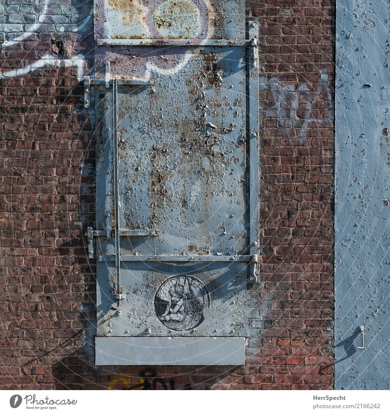 Beautiful decay House (Residential Structure) Manmade structures Building Wall (barrier) Wall (building) Facade Window Door Stone Metal Rust Graffiti Authentic