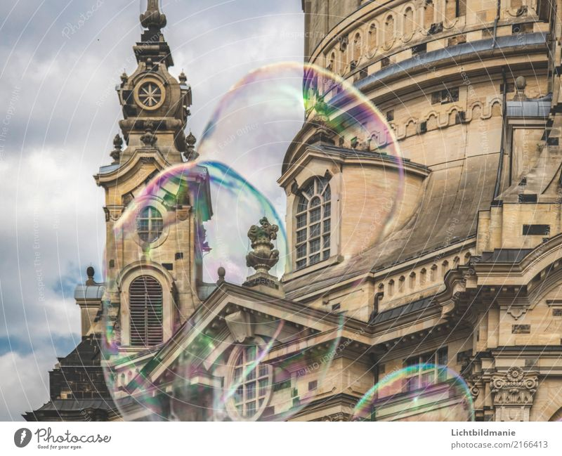 Soap bubbles in front of Frauenkirche Style Joy Tourism Sightseeing City trip Entertainment Science & Research Art Dance Youth culture Outdoor festival Stage