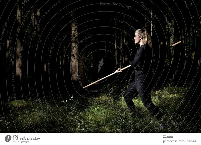 black mamba Martial arts Human being Young woman Youth (Young adults) 18 - 30 years Adults Landscape Tree Bushes Forest Chinese martial art Combat dress Blonde