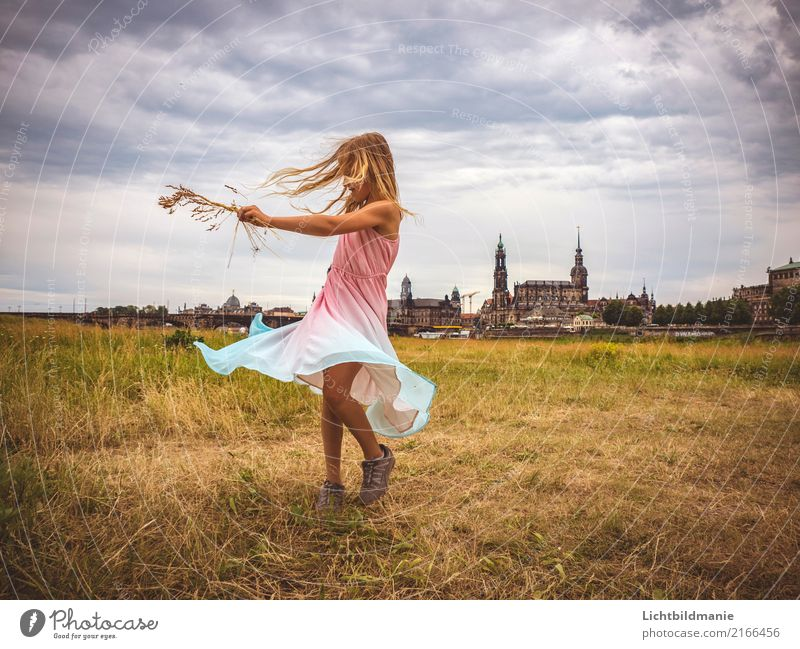 Living in Dresden Lifestyle Joy Happy Playing Vacation & Travel Trip Freedom Dance Human being Feminine Child Girl Infancy Hair and hairstyles 1 River bank Elbe