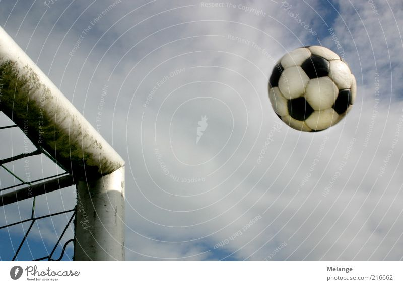 Goal! Sports Ball sports Foot ball Sporting Complex Football pitch Playing Blue Gray Leisure and hobbies Target Soccer Soccer Goal Shot Pole Sky Ambiguous