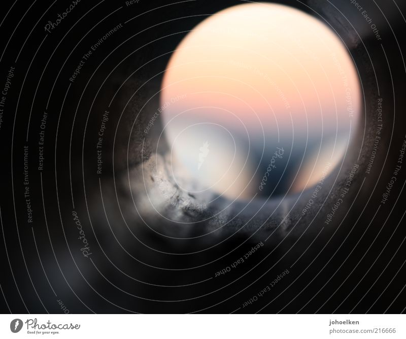 10 * first rounding Sunrise Sunset Deserted Metal Steel Circle Round Yellow Gray Colour photo Multicoloured Exterior shot Experimental Twilight Back-light Blur