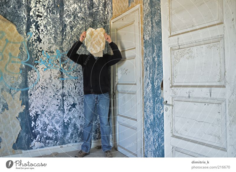 memory mask Face Wallpaper Room Human being Man Adults 1 30 - 45 years Ruin Building Door Paper Old Retro Blue Surrealism Decline Time merge merging head wall