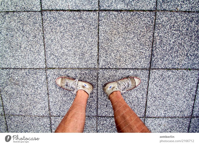 Uncertain stand Legs Feet Serene Cozy Man Human being Break Tibia Vacation & Travel Stand Balance Sneakers Chucks Terrace Sidewalk Footpath Ground