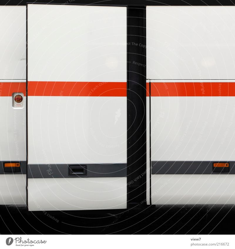 departure Means of transport Bus Metal Line Stripe Esthetic Authentic Thin Simple Good Modern Beautiful Red Accuracy Arrangement Pure Car door Close Depart
