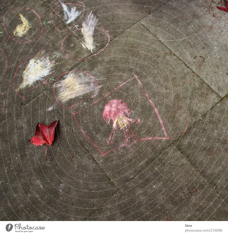 [HH10.1] - and what are you playing Lanes & trails Concrete Sign Authentic Chalk Drawing Children's game Leaf Playing Colour photo Exterior shot Deserted