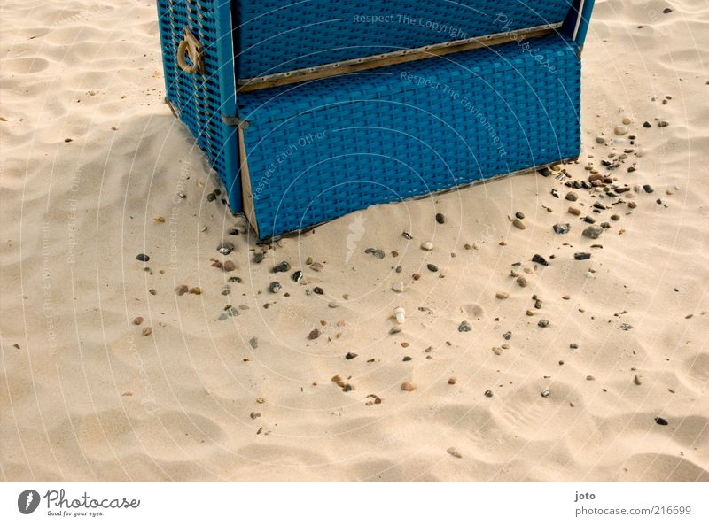 Nature Blue Vacation & Travel Summer Beach Calm Relaxation Sand Stone Leisure and hobbies Break Summer vacation Retirement Beach chair Section of image
