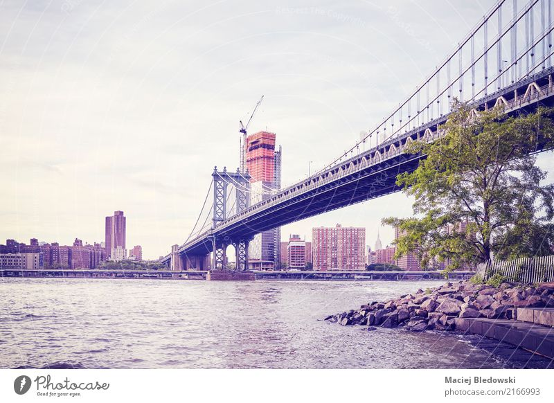 Manhattan Bridge in New York, color toning applied, USA. River bank Town Architecture Landmark Retro City vintage NYC filtered instagram effect urban
